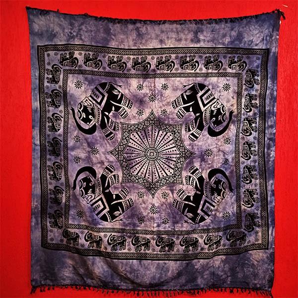 Colcha Indiana Casal Mandala Azul Painel Cobre Leito