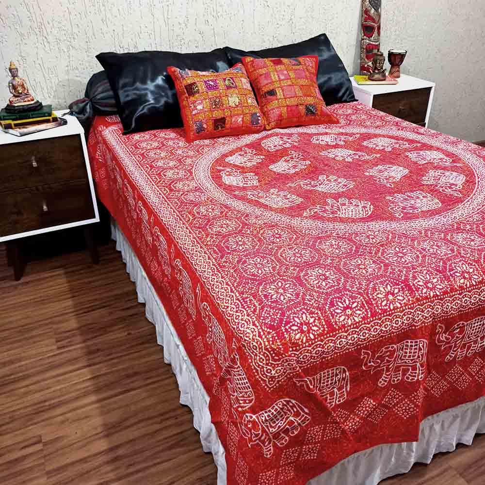 Colcha Indiana Casal Mandala Circula Vermelha Cobre Leito Painel