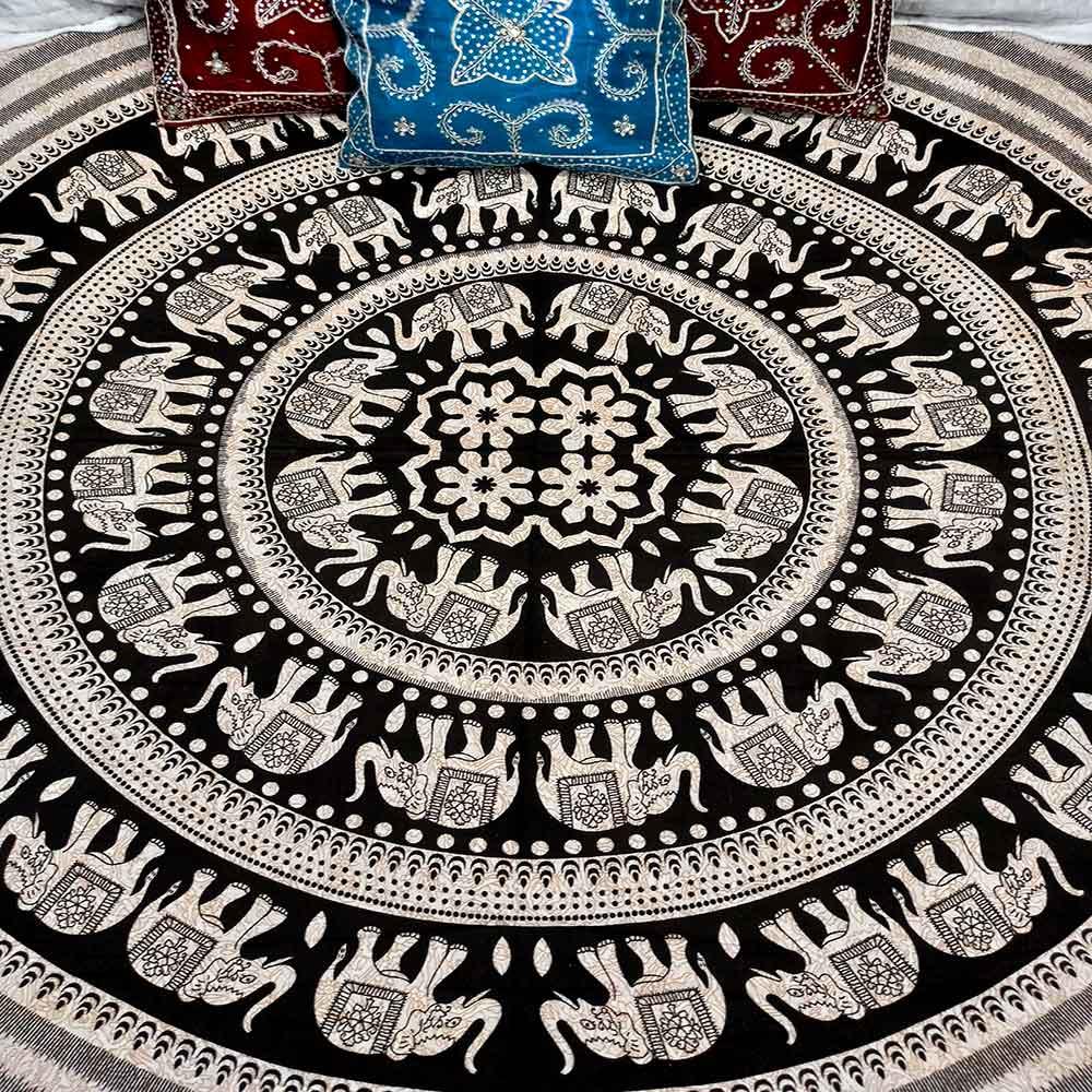 Colcha Indiana Casal Mandala Circular Bege Cobre Leito Painel