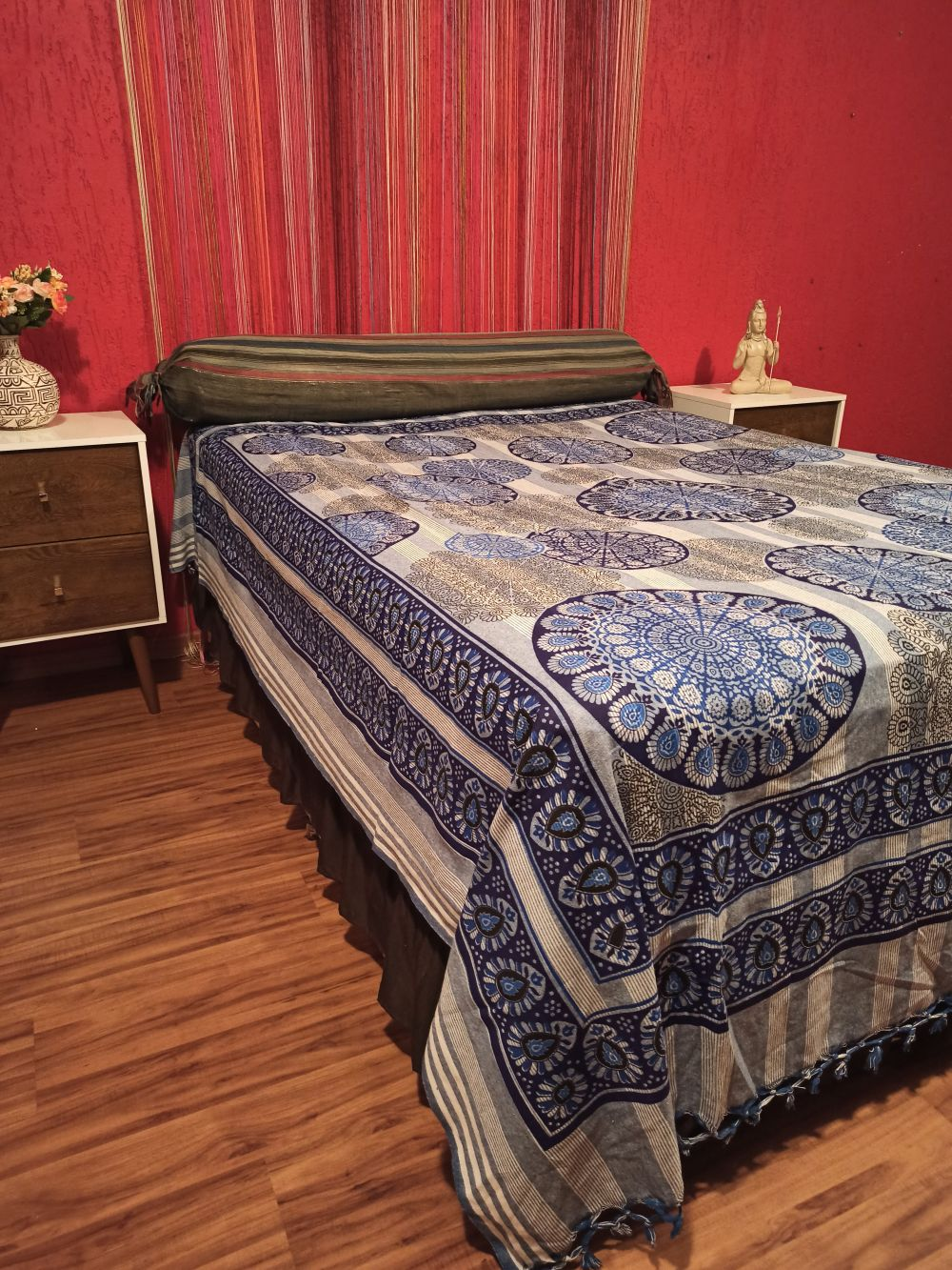 Colcha Indiana Casal Mandala Circular Azul Boho Manta Cobre Leito Painel