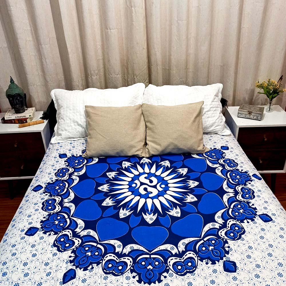 Colcha Indiana Casal Mandala Circular Azul Cobre Leito Painel