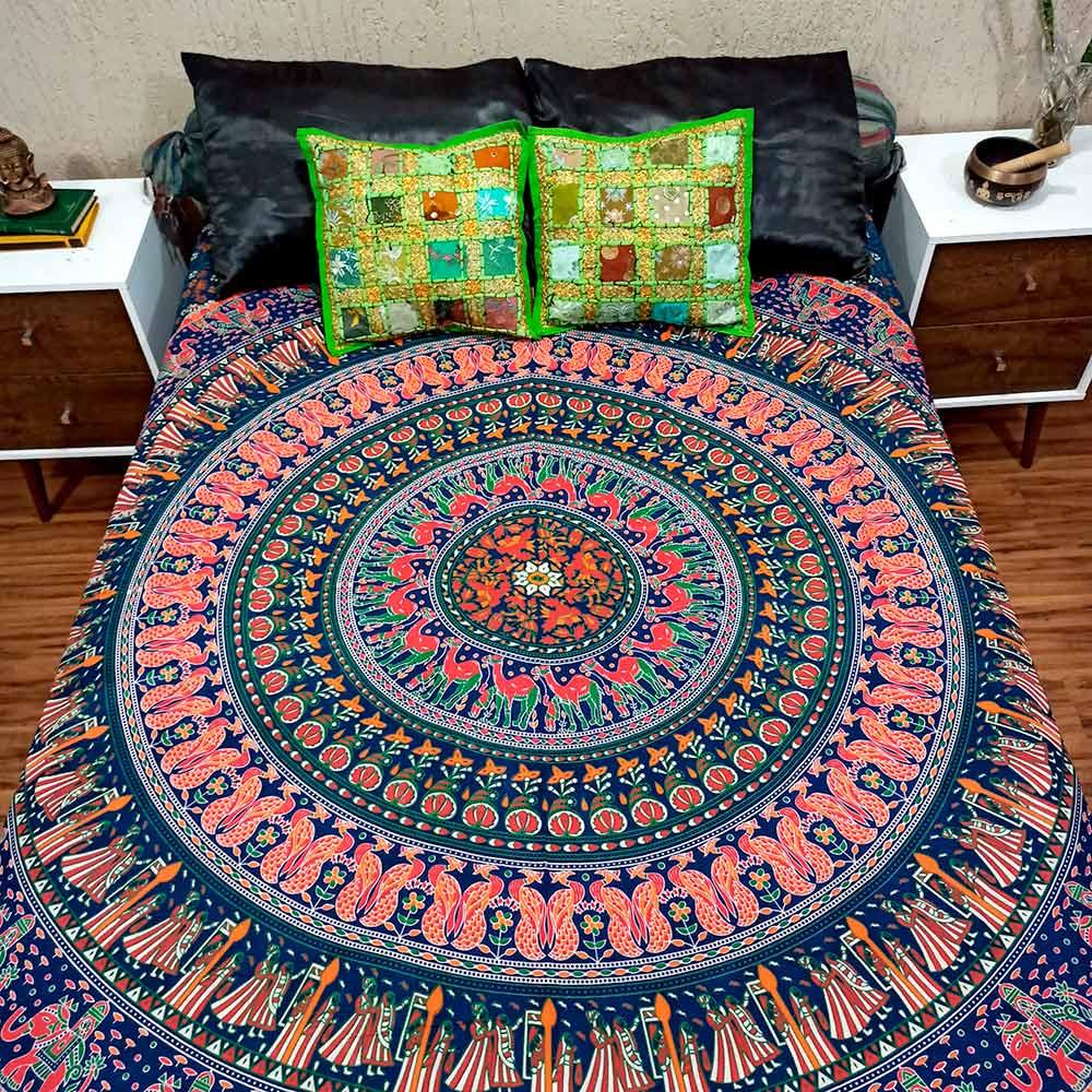 Colcha Indiana Casal Mandala Circular Azul Manta Cobre Leito Painel