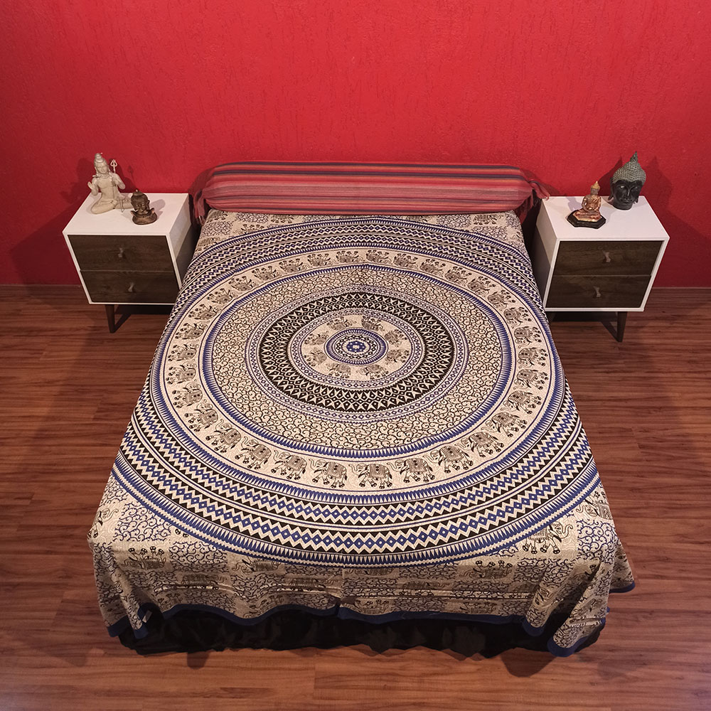 Colcha Indiana Casal Mandala Circular Azul Painel Cobre Leito