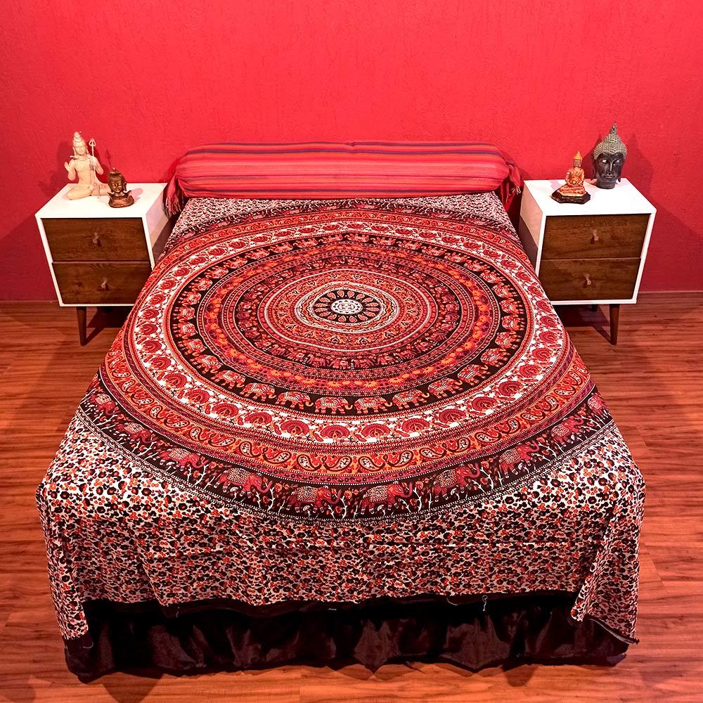 Colcha Indiana Casal Mandala Circular Cobre Leito Painel