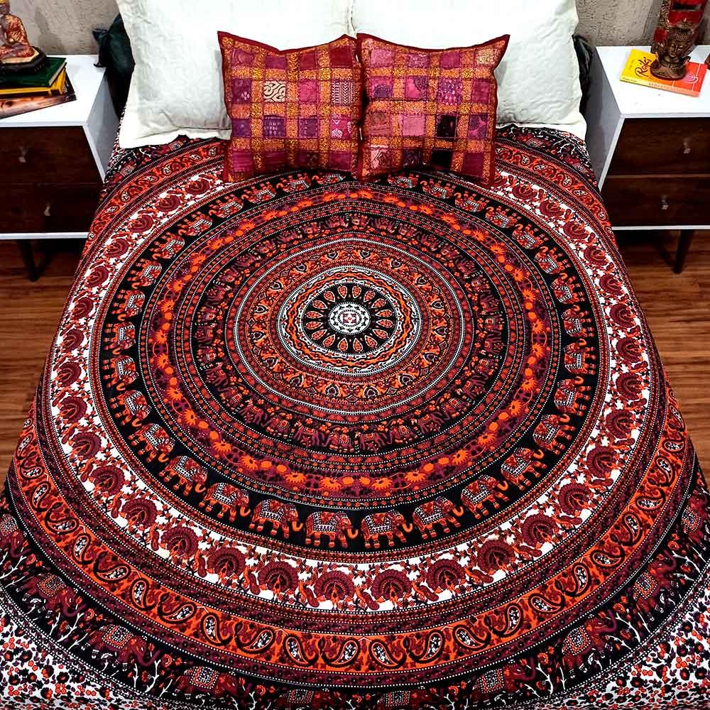 Colcha Indiana Casal Mandala Circular Manta Cobre Leito Painel