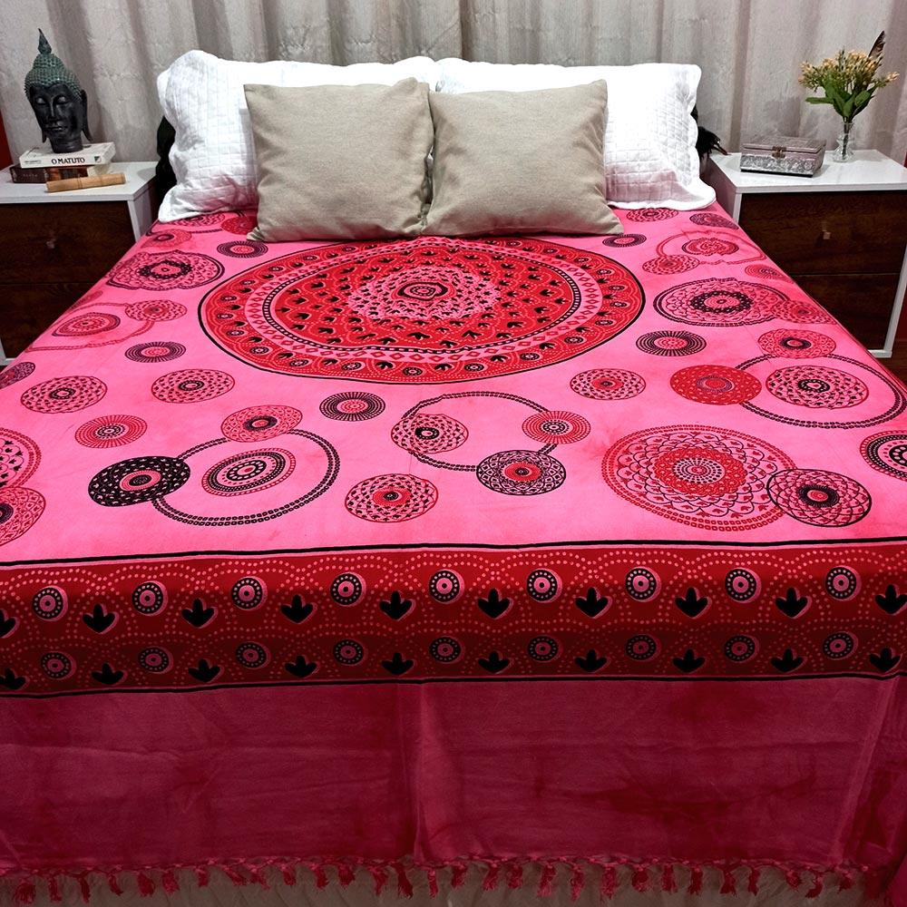 Colcha Indiana Casal Mandala Circular Rosa Boho Manta Cobre Leito Painel
