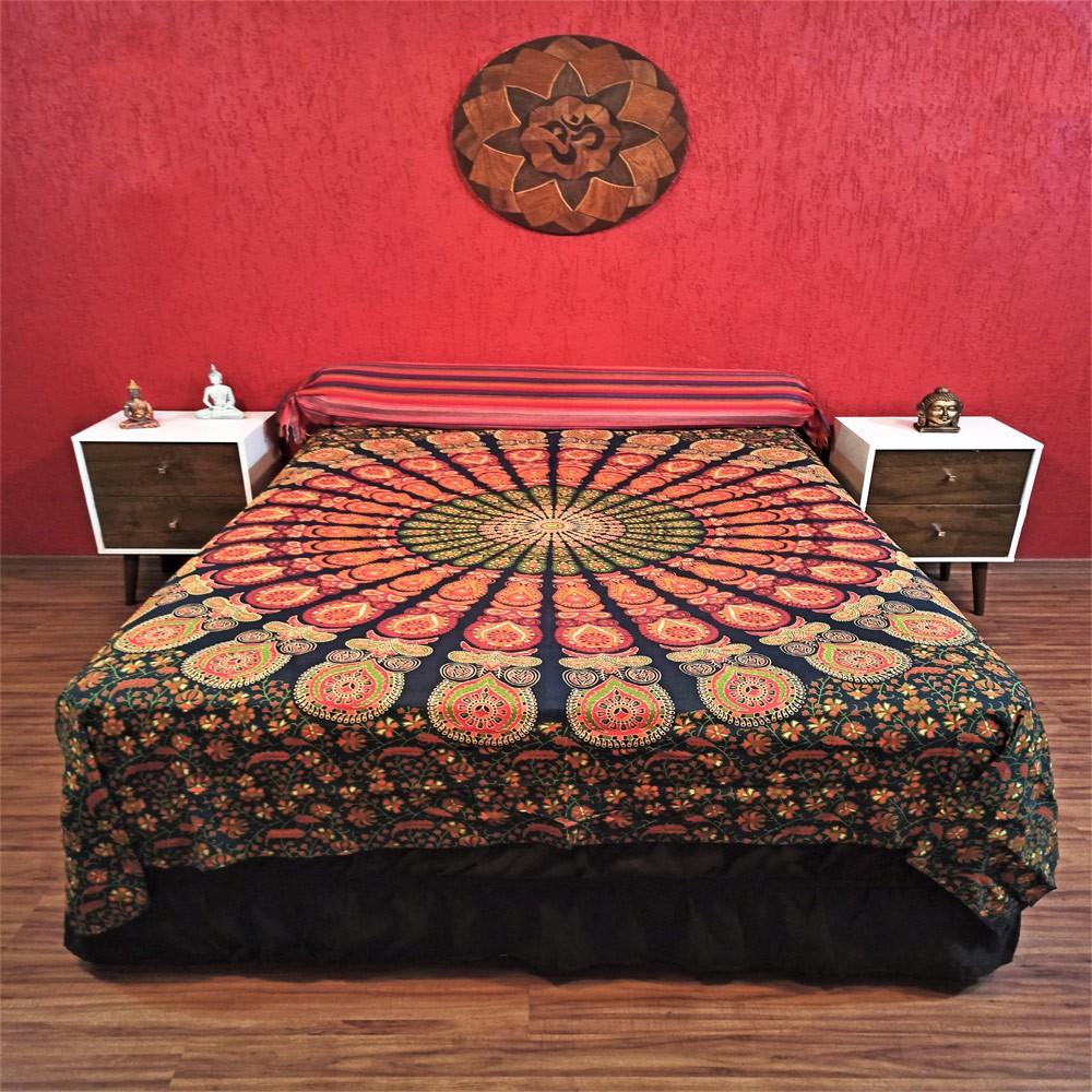 Colcha Indiana Casal Mandala Circular Verde Cobre Leito Painel