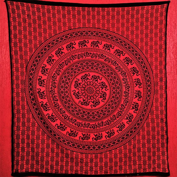 Colcha Indiana Casal Mandala Circular Vermalha Painel Cobre Leito
