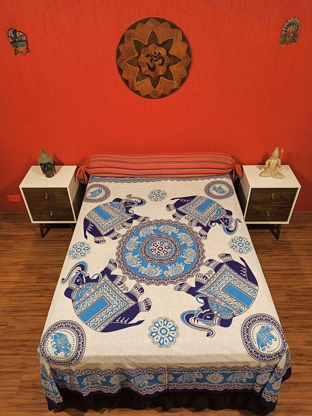 Colcha Indiana Casal Mandala Elefante Azul Cobre Leito Painel