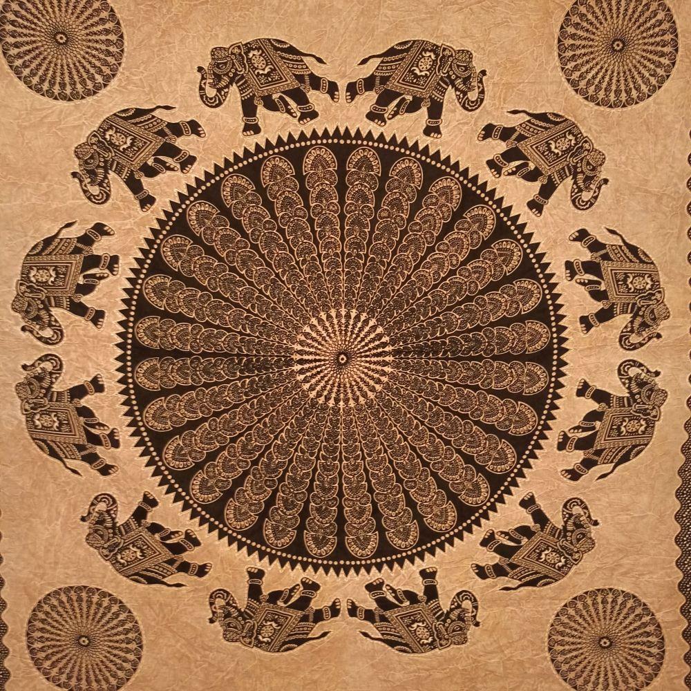 Colcha Indiana Casal Mandala Elefante Cobre Leito Painel
