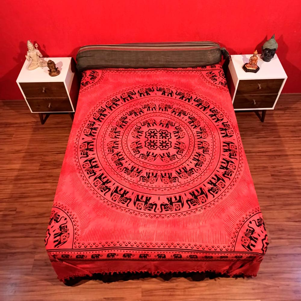 Colcha Indiana Casal Mandala Elegante Boho Manta Cobre Leito Painel