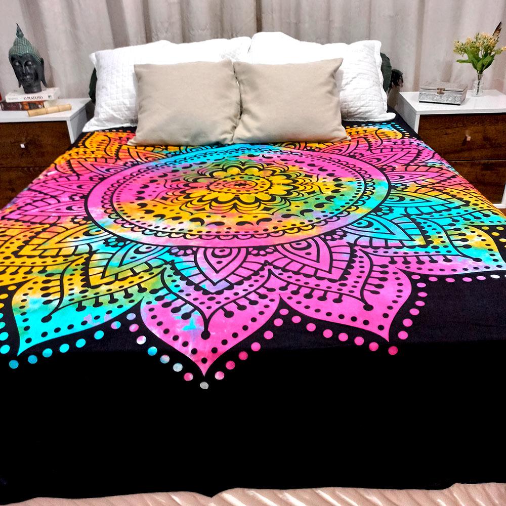 Colcha Indiana Casal Mandala Tie Dye Cobre Leito Painel