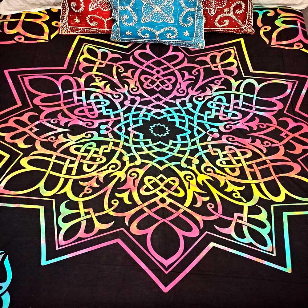 Colcha Indiana Casal Mandala Tie Dye Painel Cobre Leito