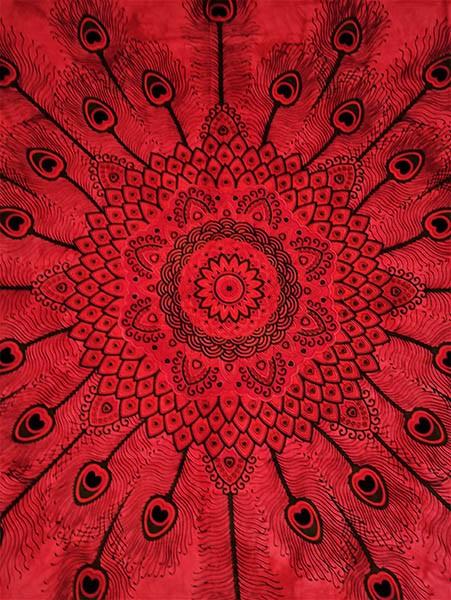 Colcha Indiana Casal Mandala Vermelha Cobre Leito Painel