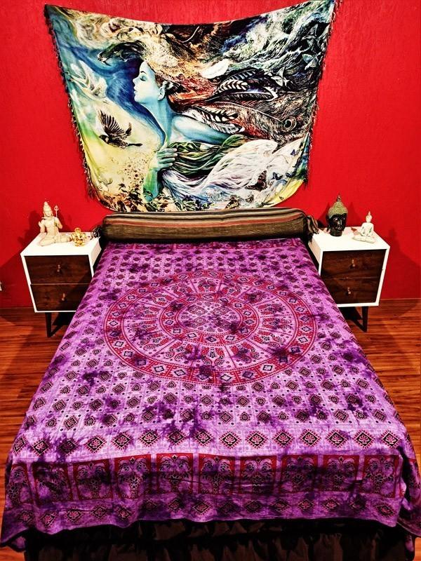 Colcha Indiana Casal Mandala Violeta Boho Manta Cobre Leito Painel