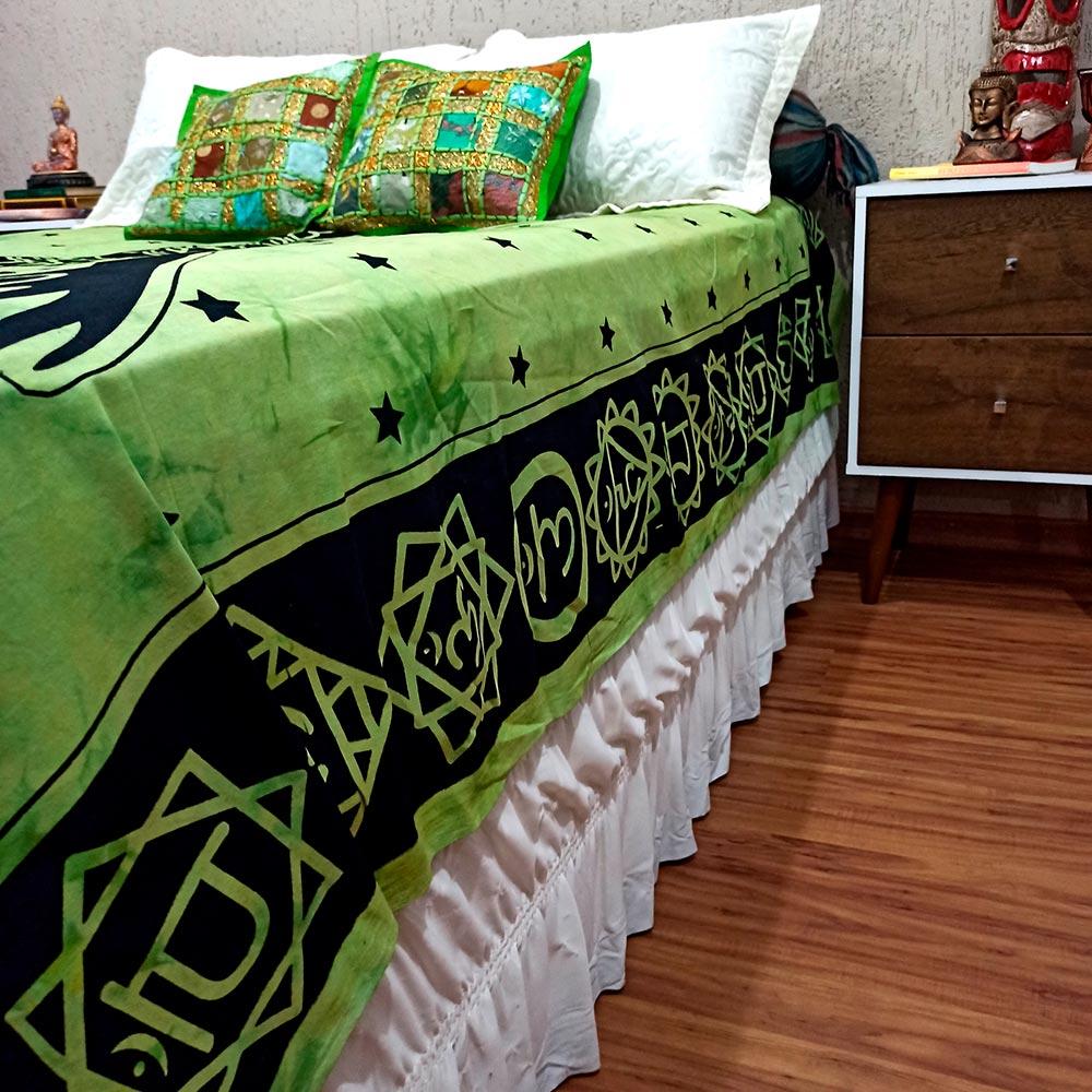 Colcha Indiana Casal Sete Chakras Verde Cobre Leito Painel