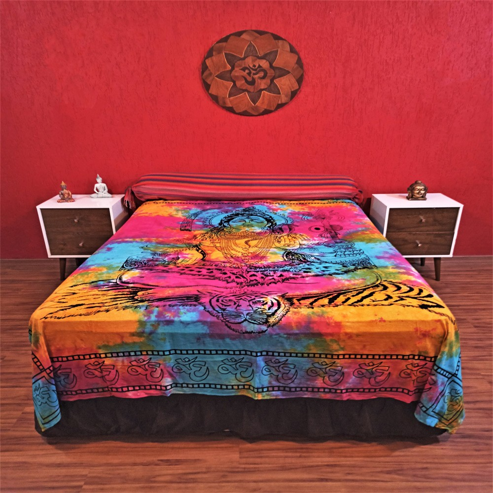 Colcha Indiana Casal Shiva Tie Die Cobre Leito Painel