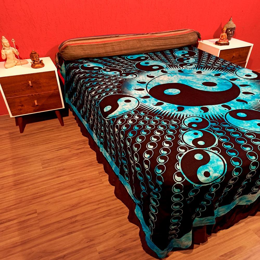 Colcha Indiana Casal Yin Yang Azul Cobre Leito Painel