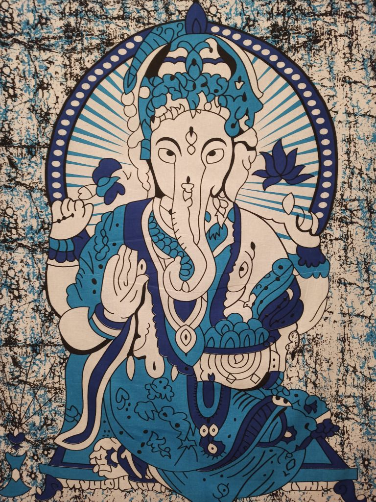 Colcha Solteiro Deus Ganesha AzulPainel Parede