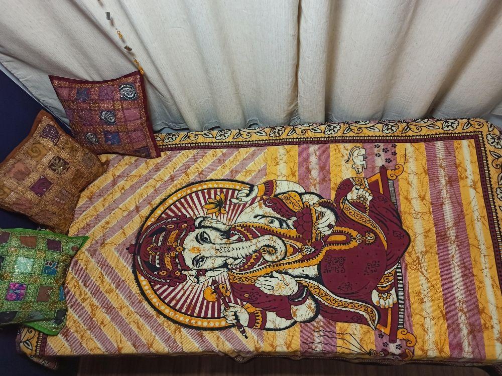 Colcha Solteiro Deus Ganesha Vinho Painel Parede