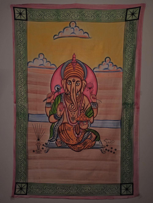 Colcha Solteiro Indiano Deus Ganesha Painel Parede