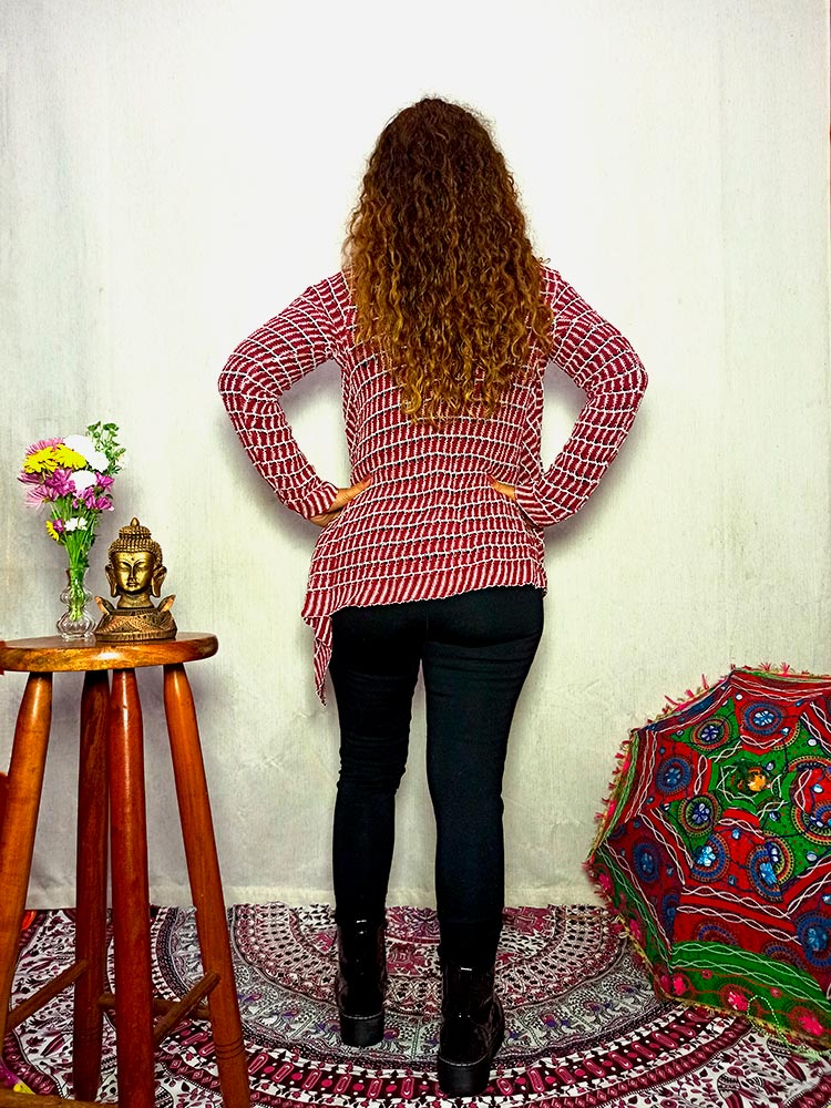 Kimono Boho De Tricot Vermelho