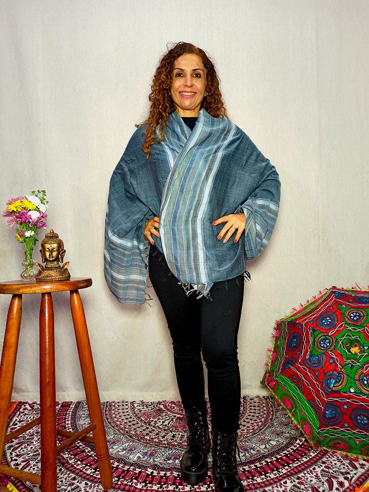 Lenço Indiano Pashmina Xale Echarpe Azul
