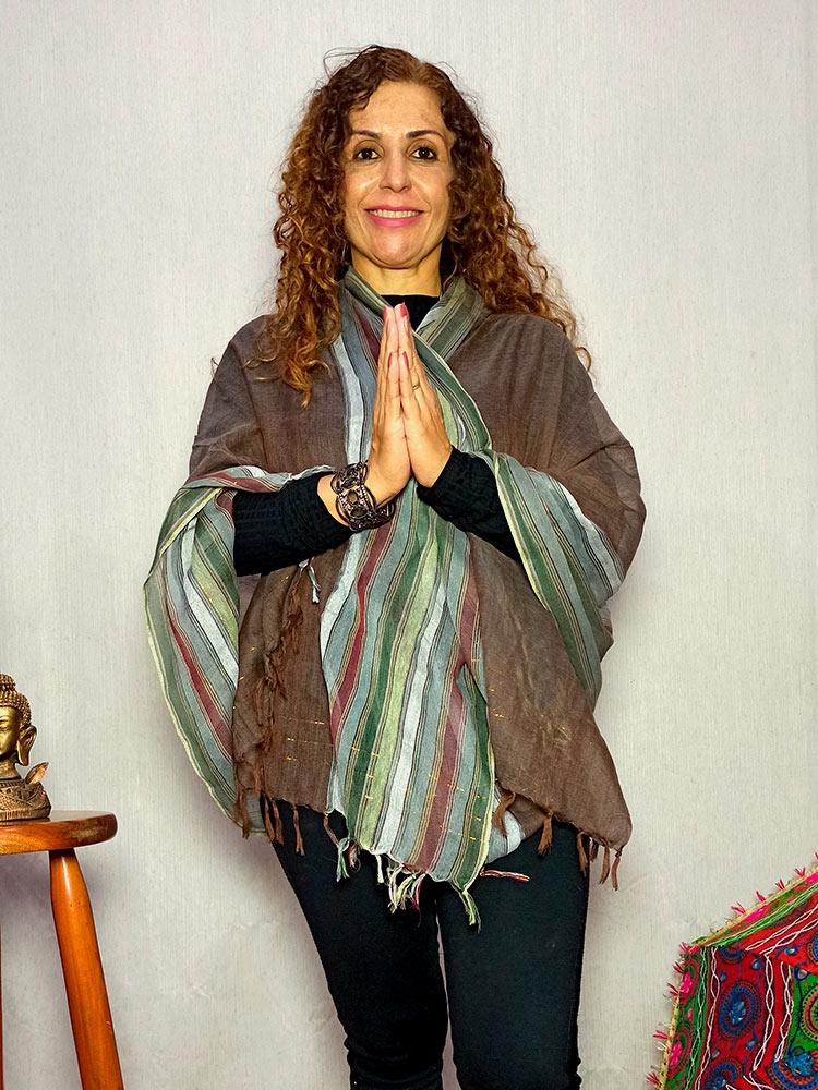 Lenço Indiano Pashmina Xale Echarpe Vinho