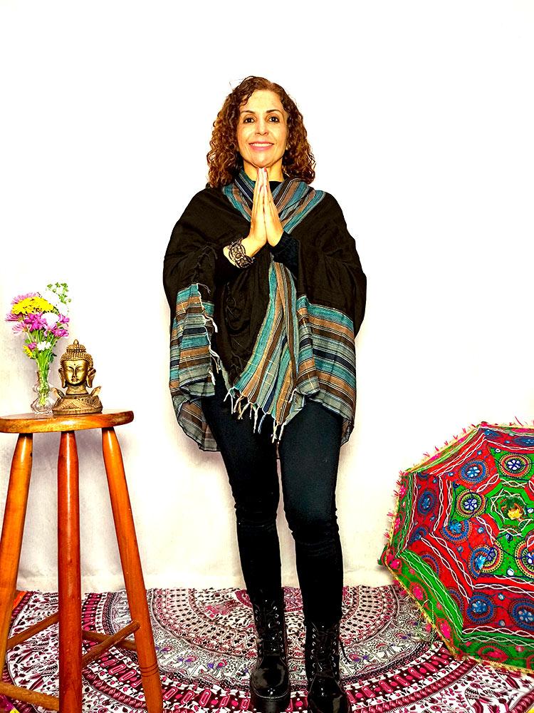 Lenço Indiano Pashmina Xale Echarpe Marrom