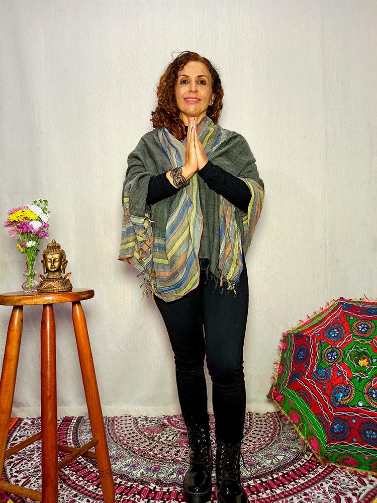 Lenço Indiano Pashmina Xale Echarpe Cinza
