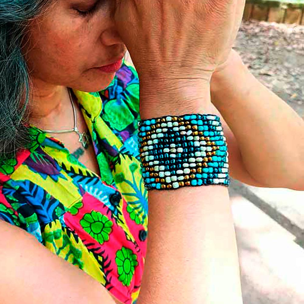 Pulseira Peruana Missanga Azul