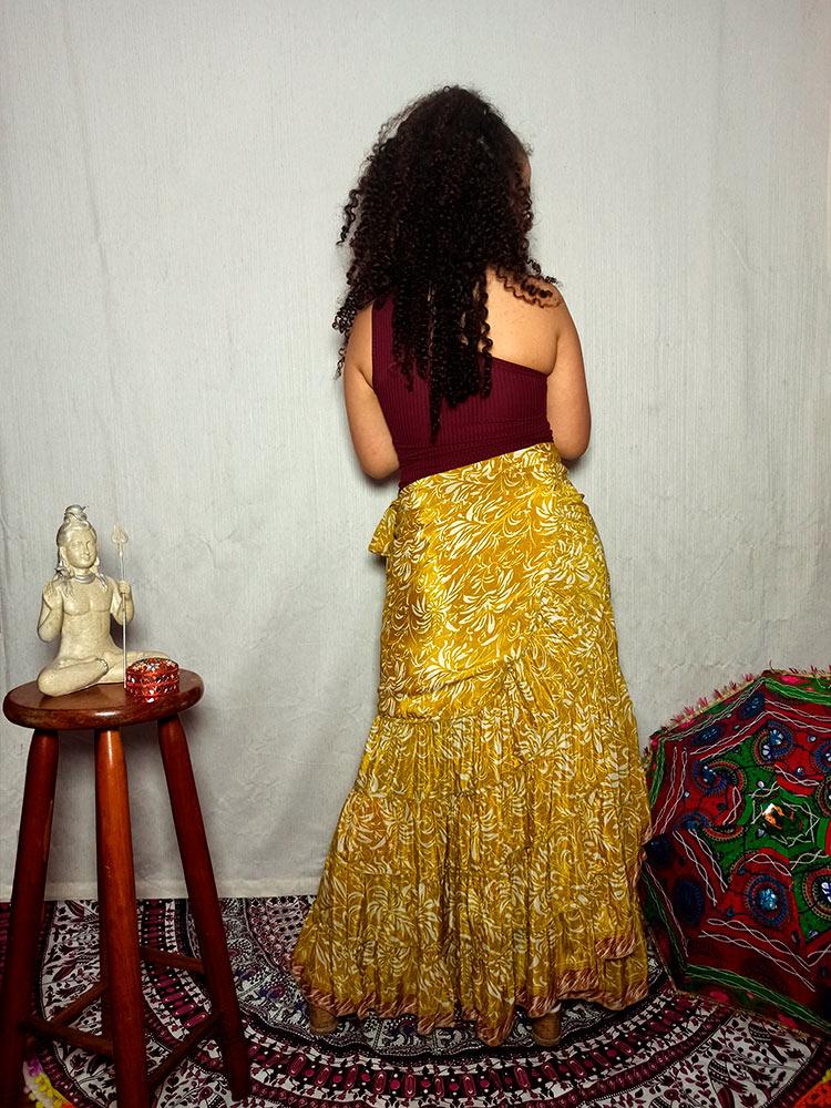 Saia Indiana Cigana Longa Envelope Transpassada Amarela