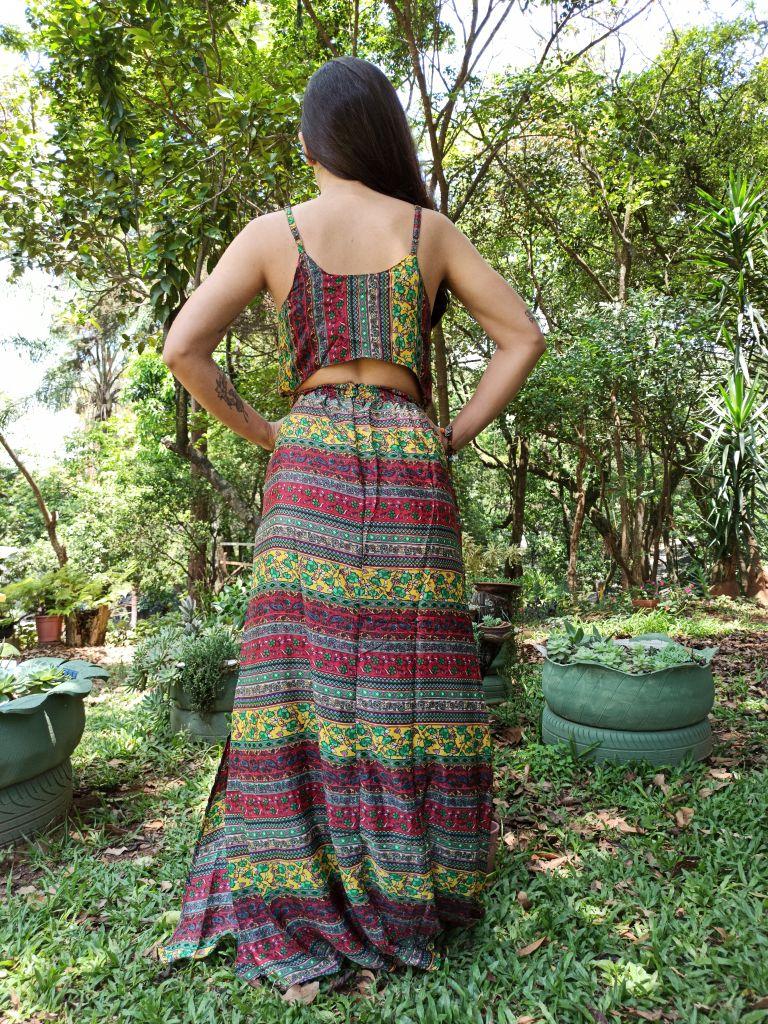 Vestido Indiano Cropped Longo Vermelho Boho Premium