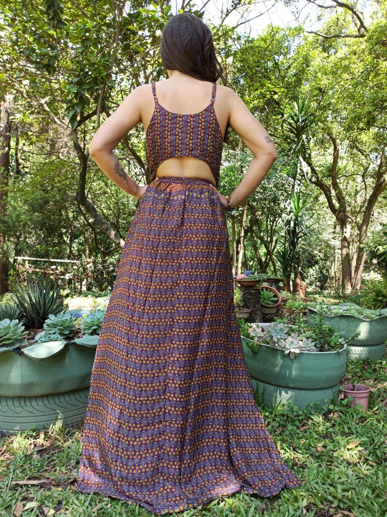 Vestido Indiano Cropped Longo Vinho Boho Premium