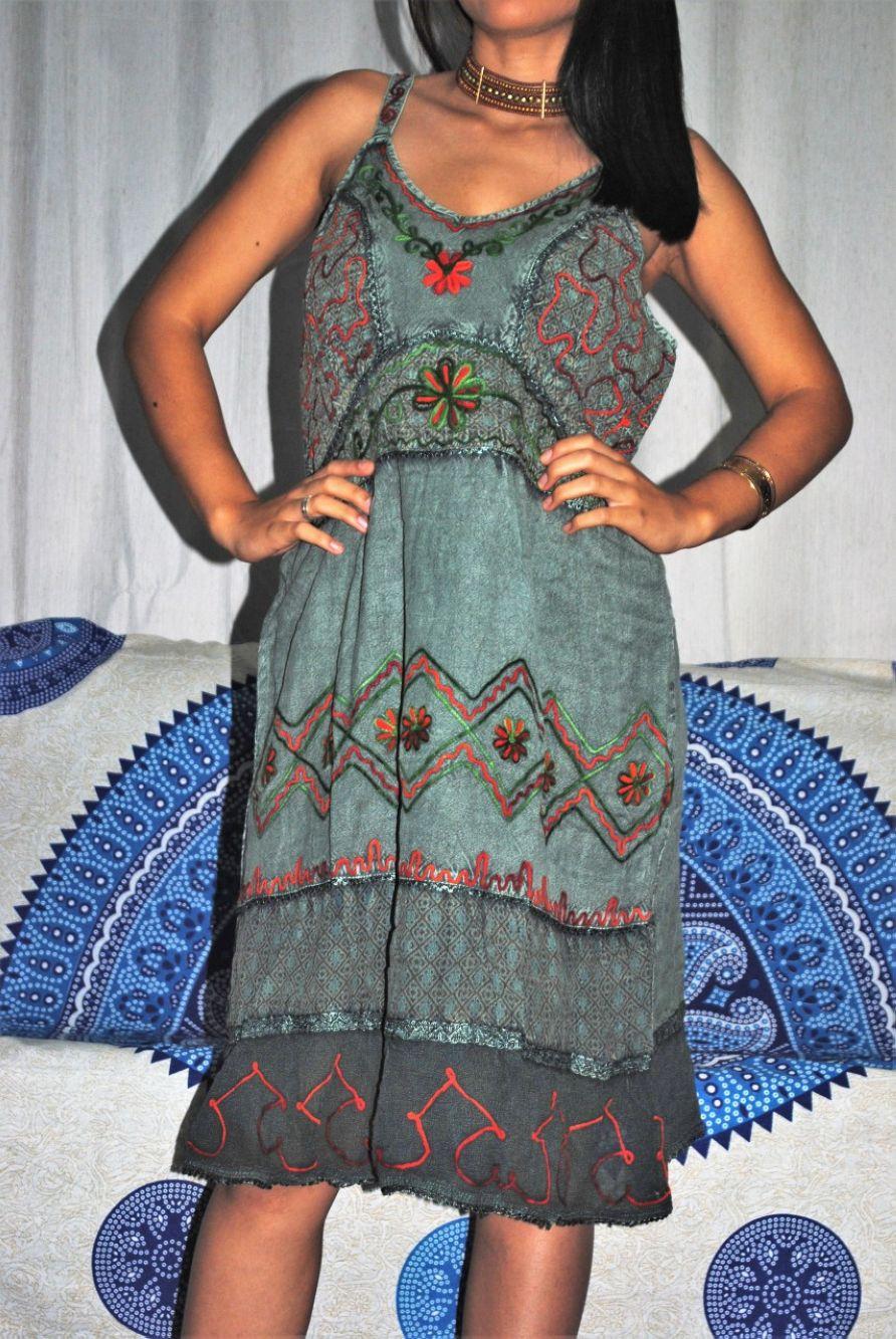 Vestido Indiano Curto Bordado Alça Boho /Hippie Chic