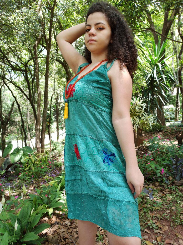 Vestido Indiano Curto Bordado Verde Premium Exclusivo