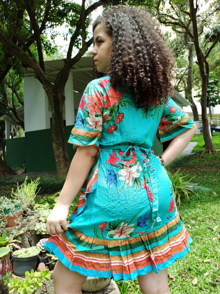 Vestido Indiano Curto Kimono Transpassado Verde Premium