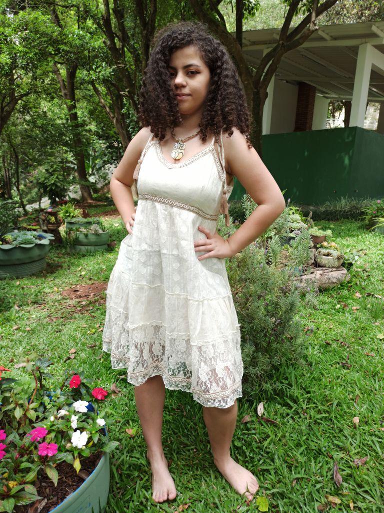 Vestido Indiano Curto Ocre Renda Premium Exclusivo