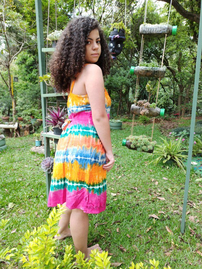 Vestido Indiano Curto Tie Dye Laranja Premium