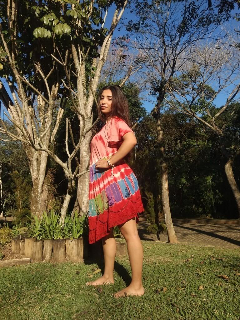Vestido Indiano Curto Trapézio Manga