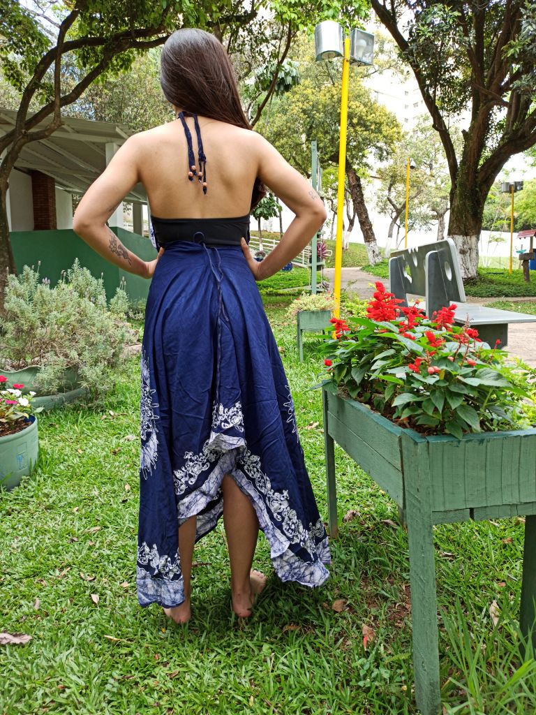 Vestido Indiano Lenço Batik Longo Azul Marinho Boho Premium