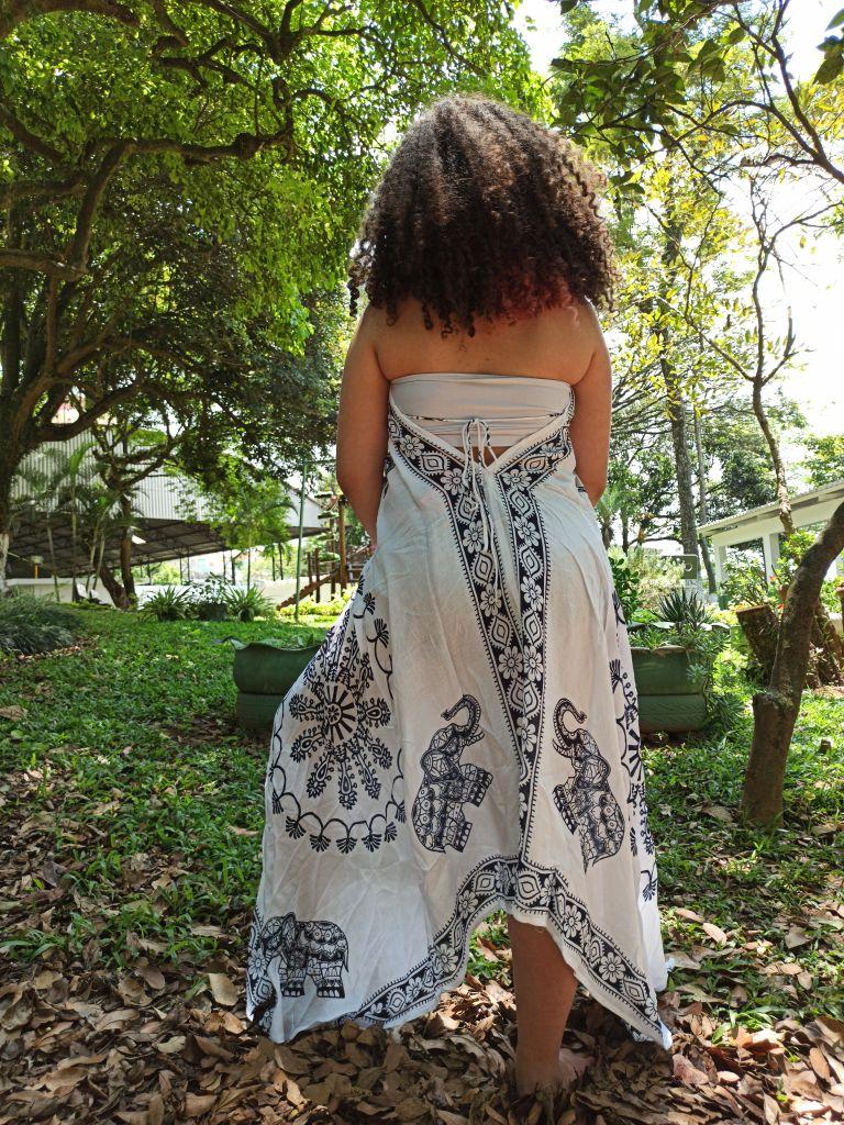 Vestido Indiano Lenço Batik Longo Branco Boho Premium