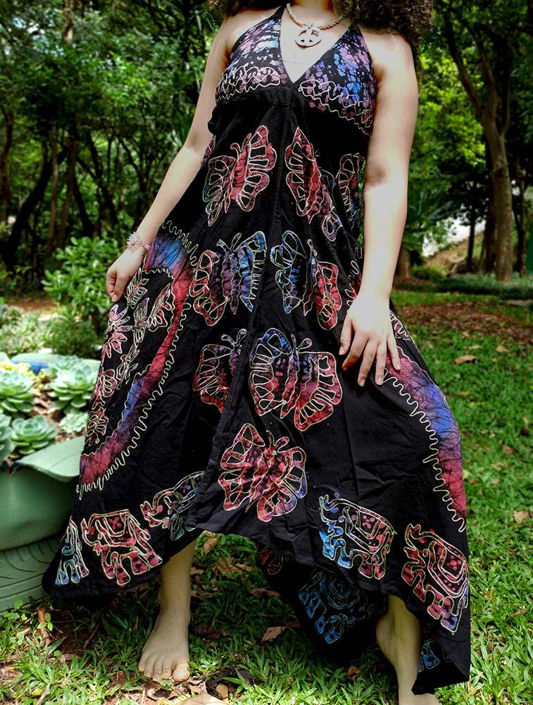 Vestido Indiano Lenço Batik Longo Rosa Boho Premium