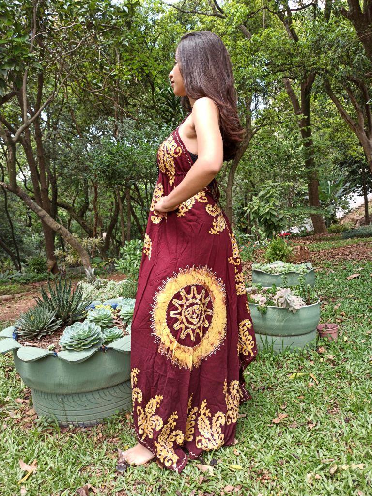 Vestido Indiano Lenço Batik Longo Vinho Boho Premium