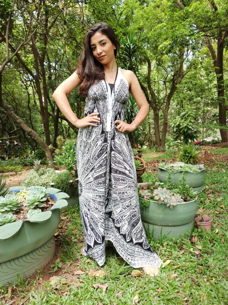 Vestido Indiano Lenço Batik Mandala Branca Boho Premium