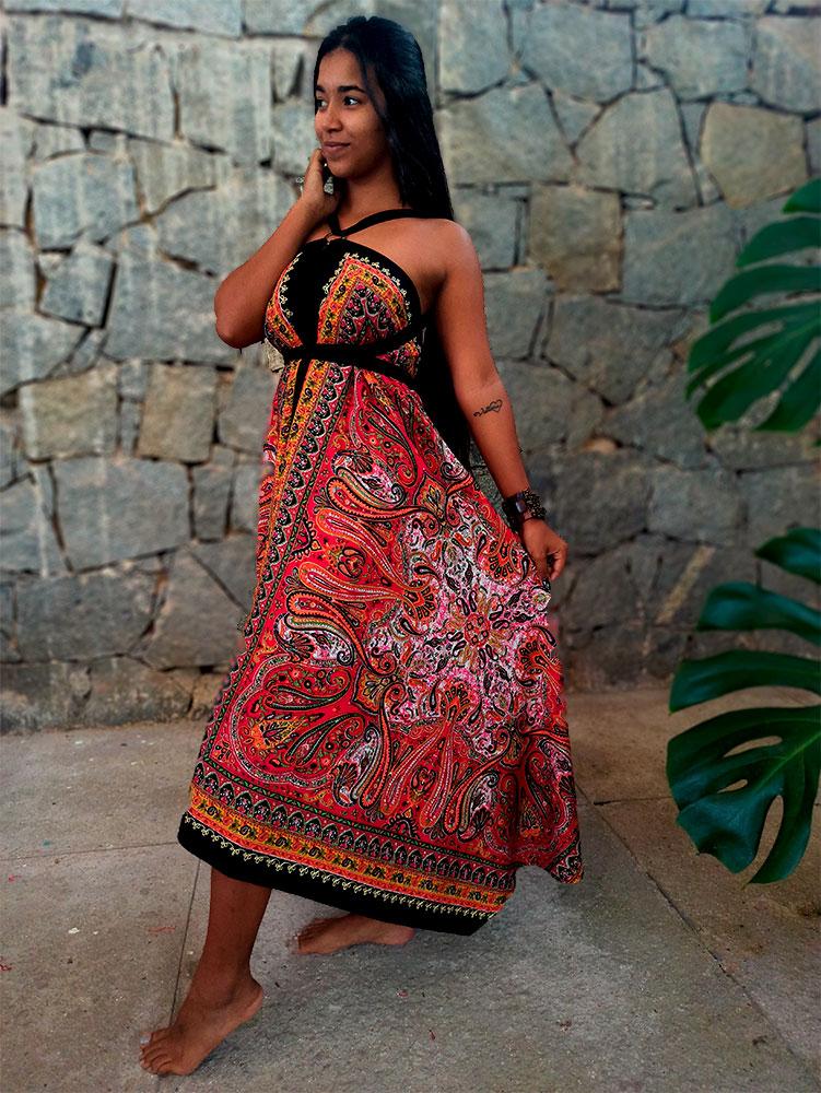 Vestido Indiano Lenço Batik Mandala Creme Com Amarelo Premium
