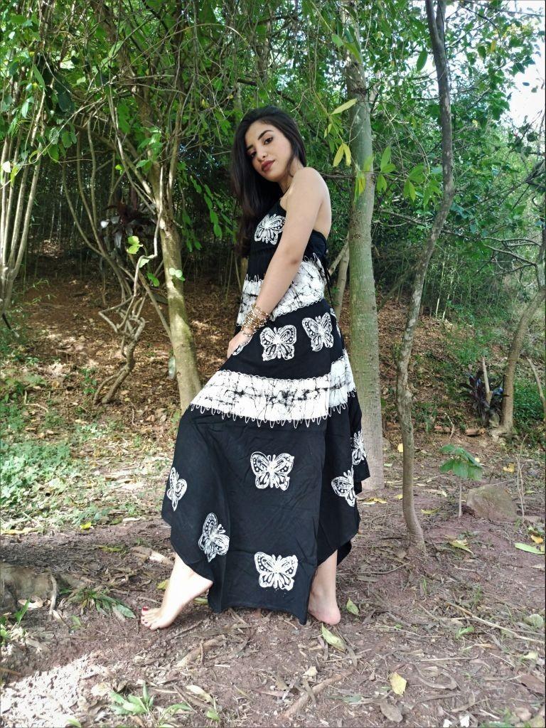 Vestido Indiano Lenço Batik Pontas Mandala Preto E Branco