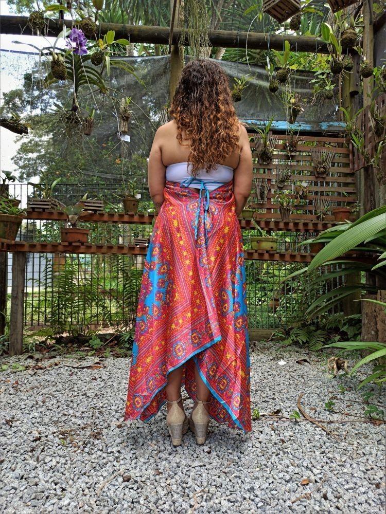 Vestido Indiano Lenço Batik Pontas Mandala Rose