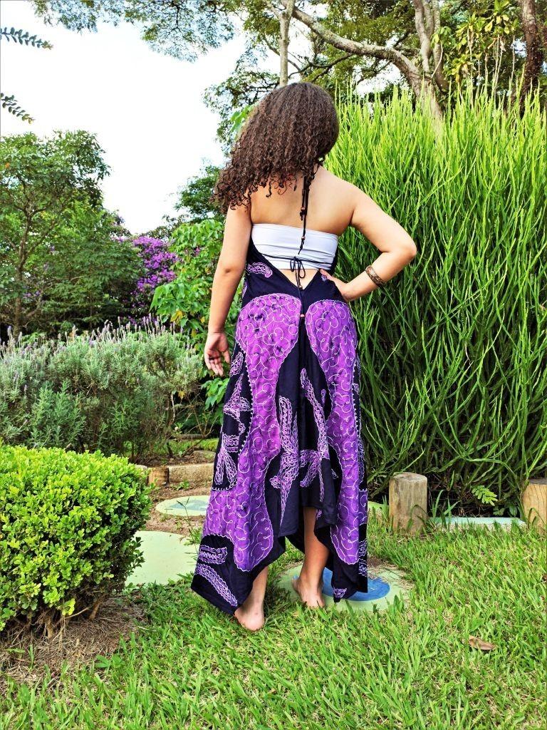 Vestido Indiano Lenço Batik Pontas Mandala Roxo