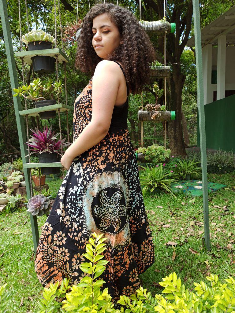 Vestido Indiano Lenço Batik Tie Dye Laranja Premium